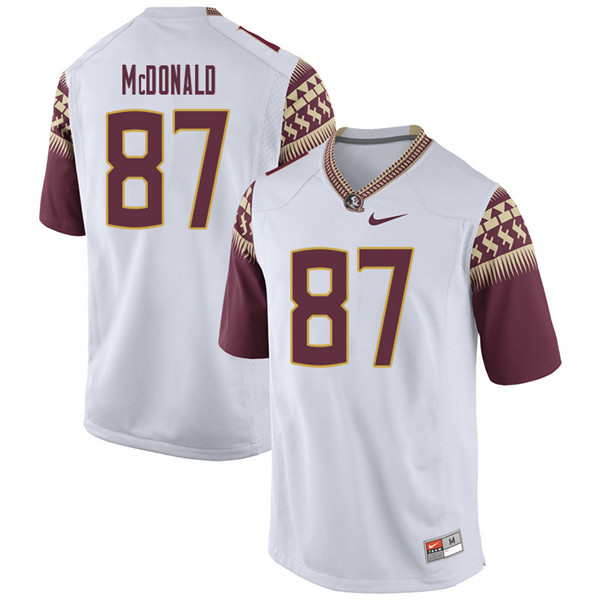 Men #87 Camm Mcdonald Florida State Seminoles College Football Jerseys Sale-White