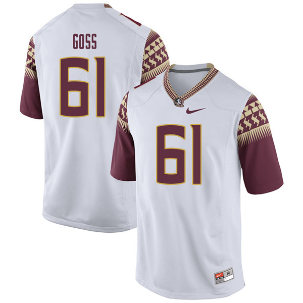 Men #61 Jalen Goss Florida State Seminoles College Football Jerseys Sale-White