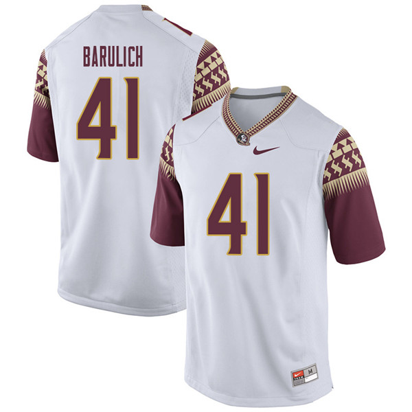 Men #41 Michael Barulich Florida State Seminoles College Football Jerseys Sale-White