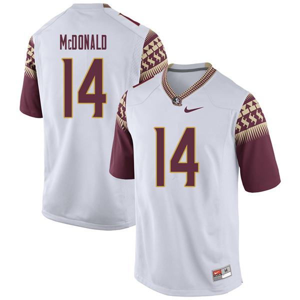 Men #14 Nolan Mcdonald Florida State Seminoles College Football Jerseys Sale-White