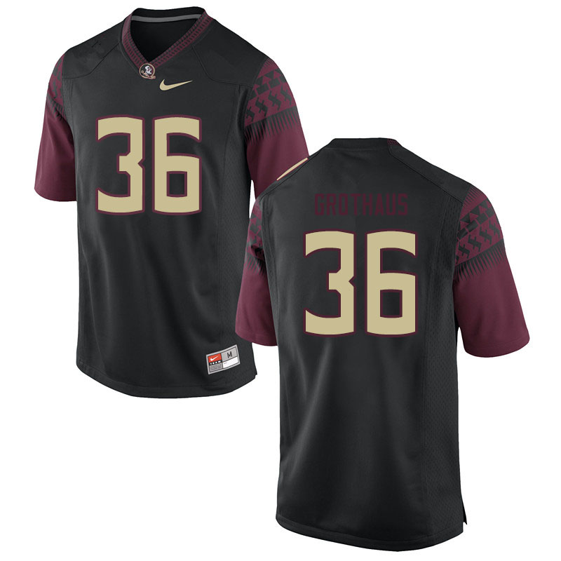 Men #36 Parker Grothaus Florida State Seminoles College Football Jerseys Sale-Black
