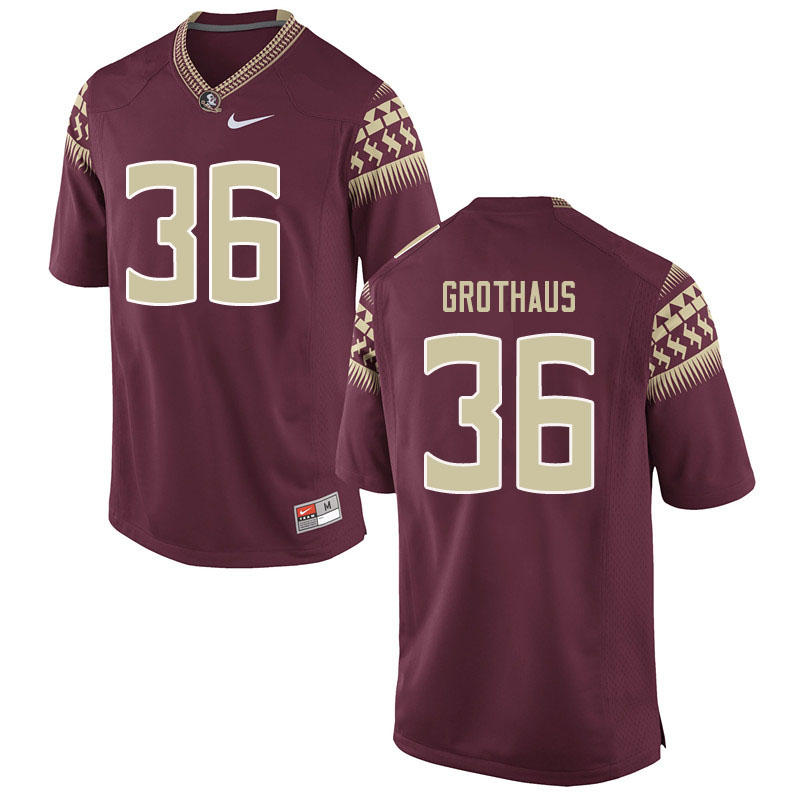 Men #36 Parker Grothaus Florida State Seminoles College Football Jerseys Sale-Garent