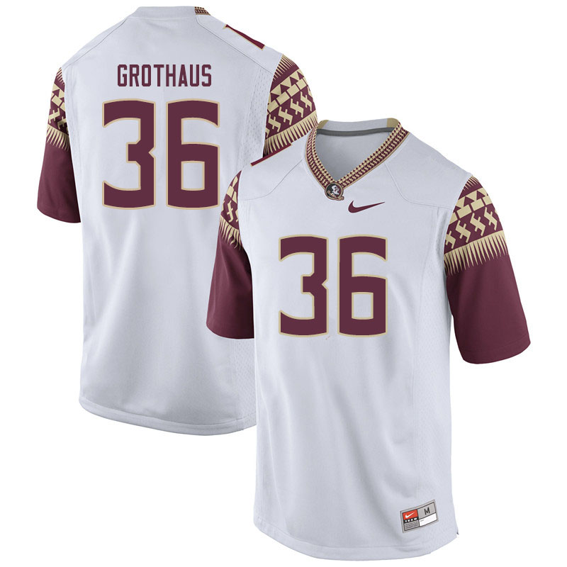 Men #36 Parker Grothaus Florida State Seminoles College Football Jerseys Sale-White