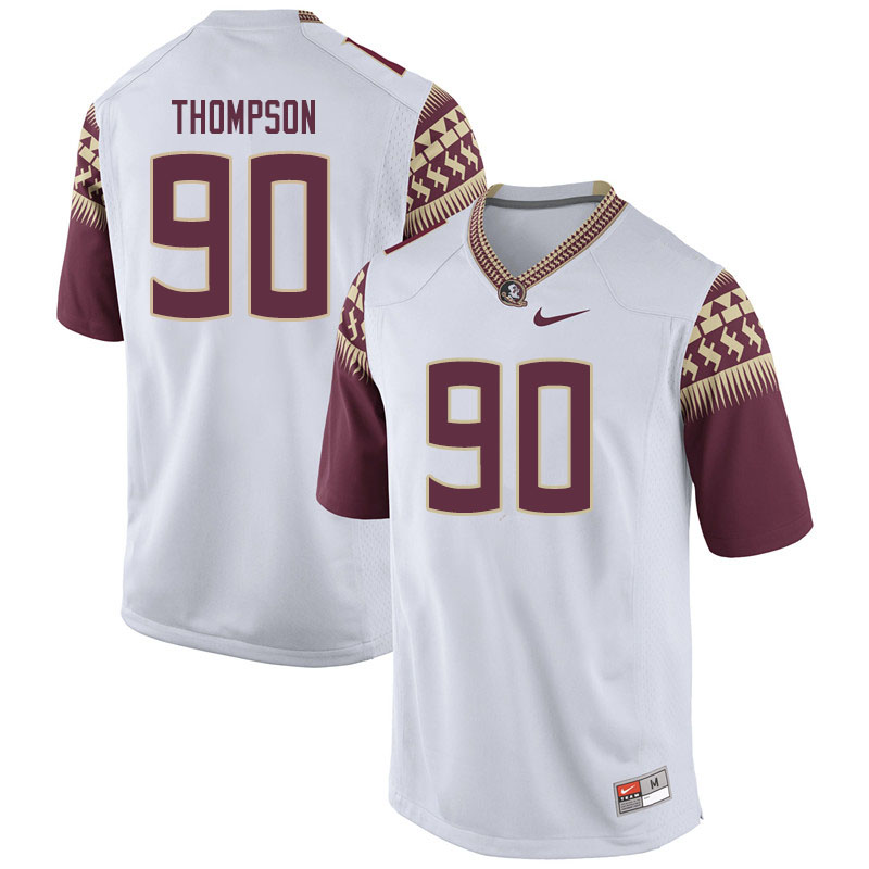 Men #90 Tru Thompson Florida State Seminoles College Football Jerseys Sale-White