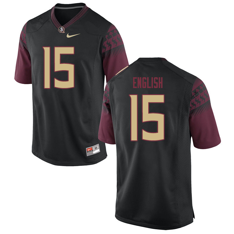 Men #15 Gino English Florida State Seminoles College Football Jerseys Sale-Black