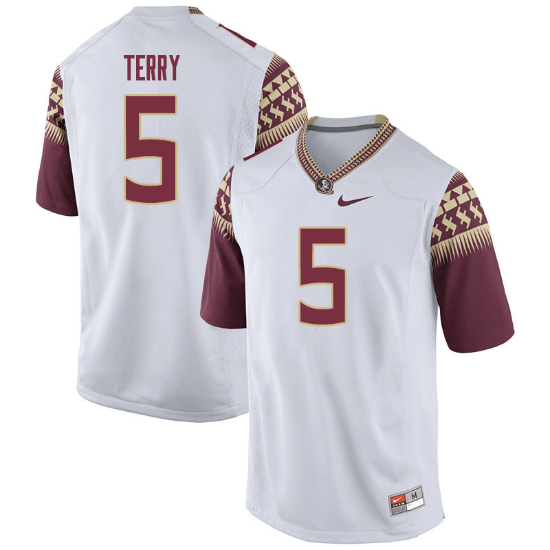 Men #5 Tamorrion Terry Florida State Seminoles College Football Jerseys Sale-White