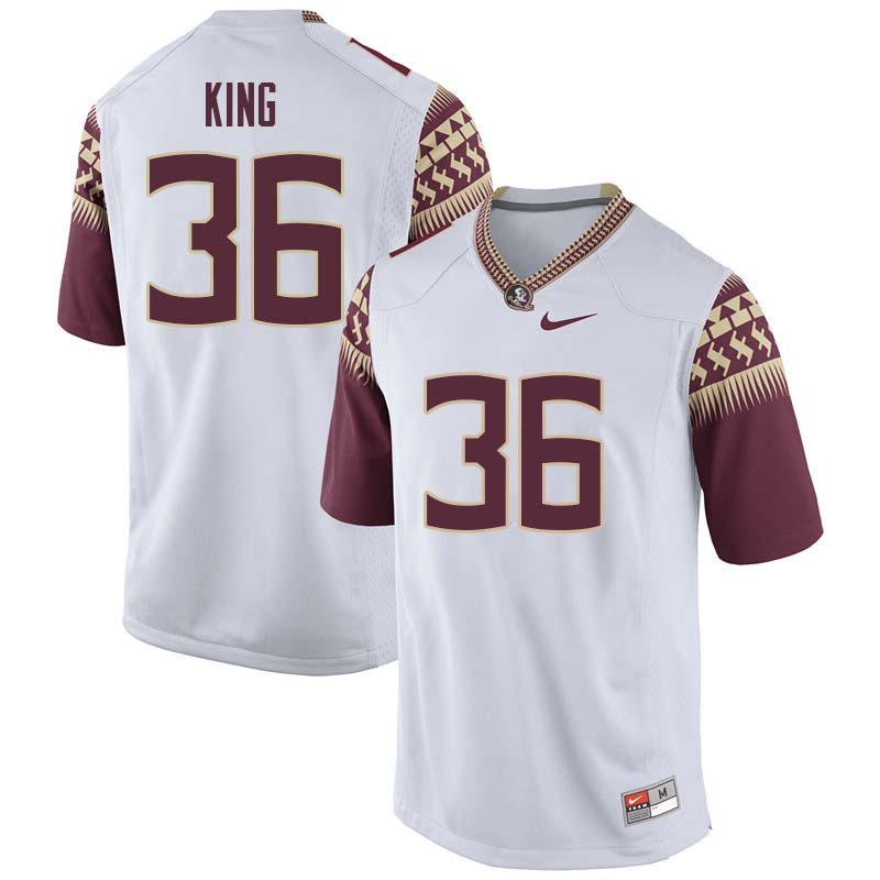 Men #36 Aaron King Florida State Seminoles College Football Jerseys Sale-White