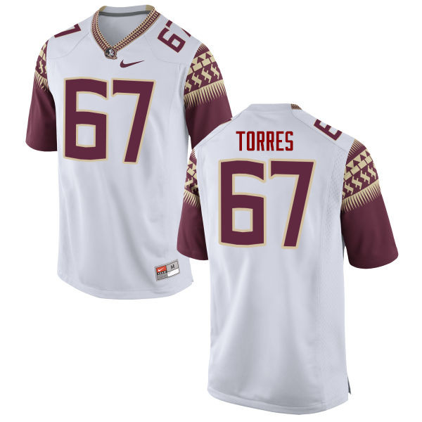 Men #67 Adam Torres Florida State Seminoles College Football Jerseys-White