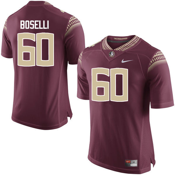 Men #60 Andrew Boselli Florida State Seminoles College Football Jerseys-Garnet