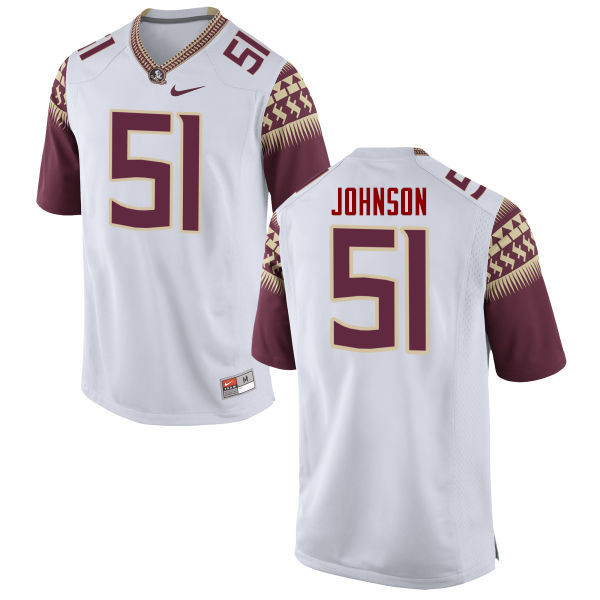 Men #51 Baveon Johnson Florida State Seminoles College Football Jerseys-White