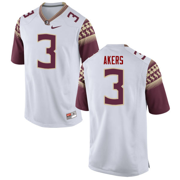 Men #3 Cam Akers Florida State Seminoles College Football Jerseys-White