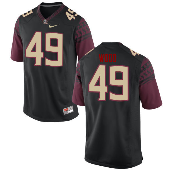 Men #49 Cedric Wood Florida State Seminoles College Football Jerseys-Black