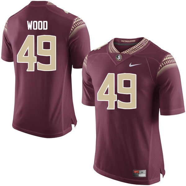 Men #49 Cedric Wood Florida State Seminoles College Football Jerseys-Garnet