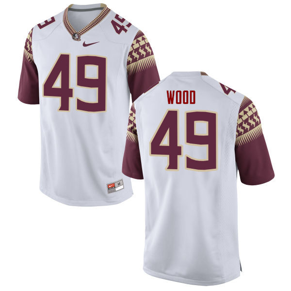 Men #49 Cedric Wood Florida State Seminoles College Football Jerseys-White