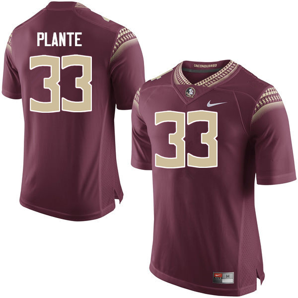 Men #33 Colton Plante Florida State Seminoles College Football Jerseys-Garnet