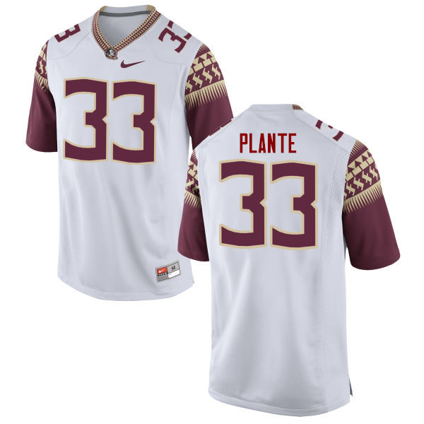 Men #33 Colton Plante Florida State Seminoles College Football Jerseys-White