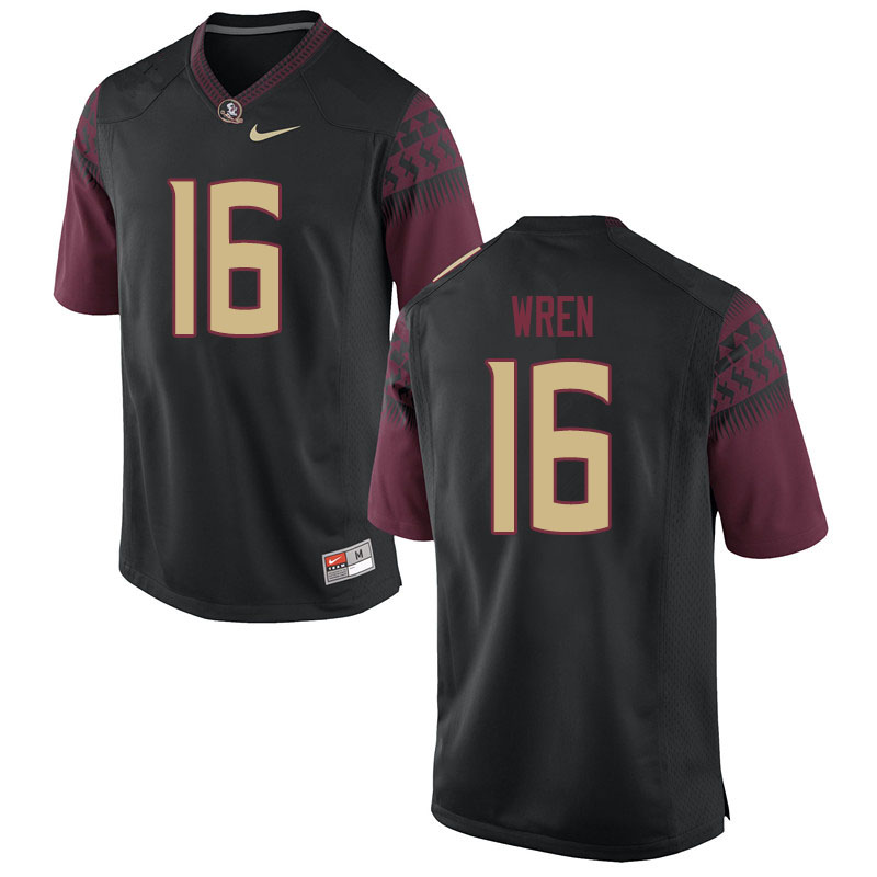 Men #16 Corey Wren Florida State Seminoles College Football Jerseys Sale-Black