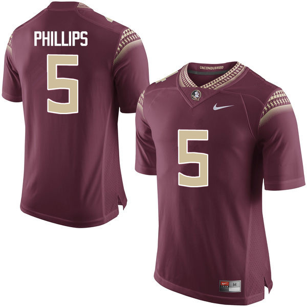 Men #5 DaVante Phillips Florida State Seminoles College Football Jerseys-Garnet