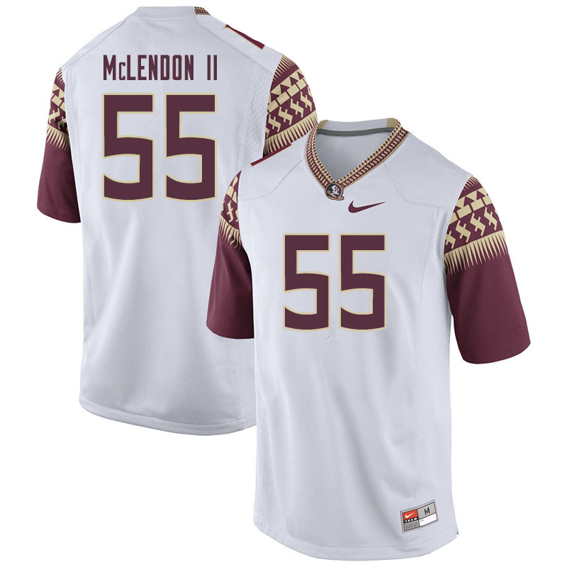 Men #55 Derrick Mclendon II Florida State Seminoles College Football Jerseys Sale-White