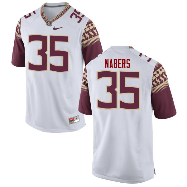 Men #35 Gabe Nabers Florida State Seminoles College Football Jerseys-White