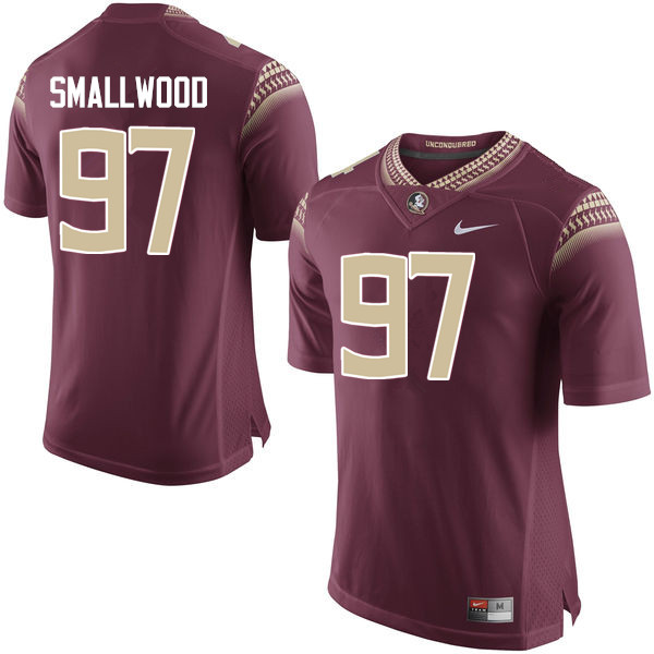 Men #97 Isaiah Smallwood Florida State Seminoles College Football Jerseys-Garnet