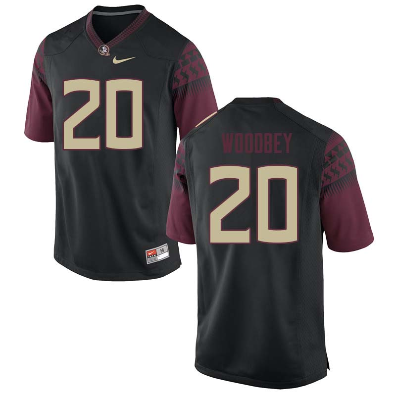 Men #20 Jaiden Woodbey Florida State Seminoles College Football Jerseys Sale-Black