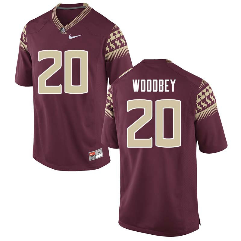 Men #20 Jaiden Woodbey Florida State Seminoles College Football Jerseys Sale-Garnet