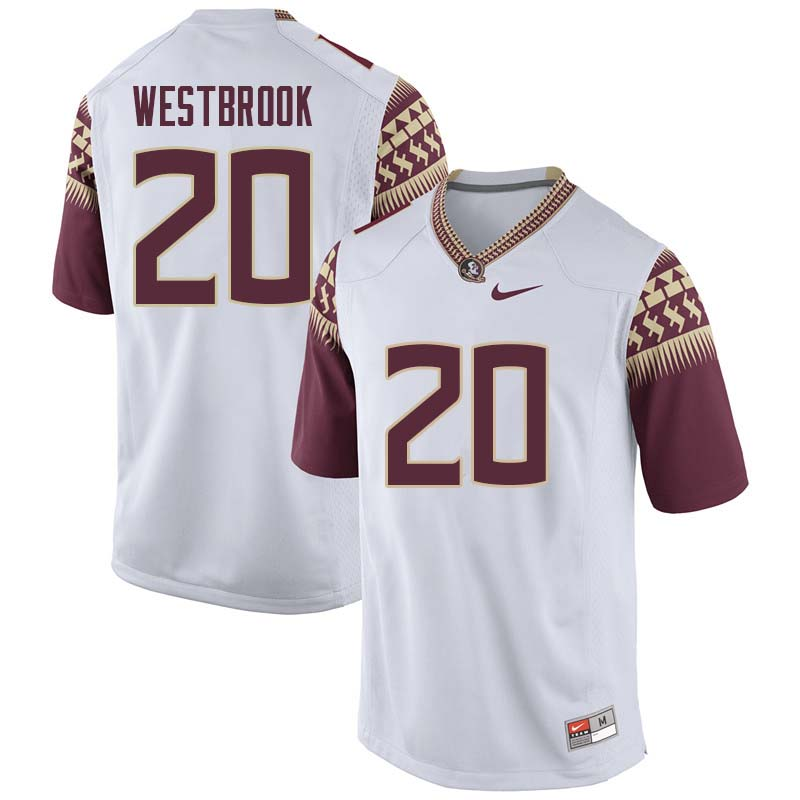 Men #20 Jaiden Woodbey Florida State Seminoles College Football Jerseys Sale-White