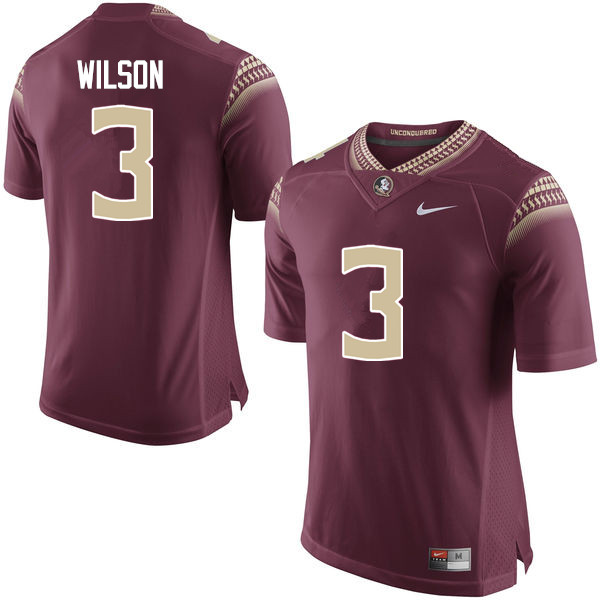 Men #3 Jesus Wilson Florida State Seminoles College Football Jerseys-Garnet
