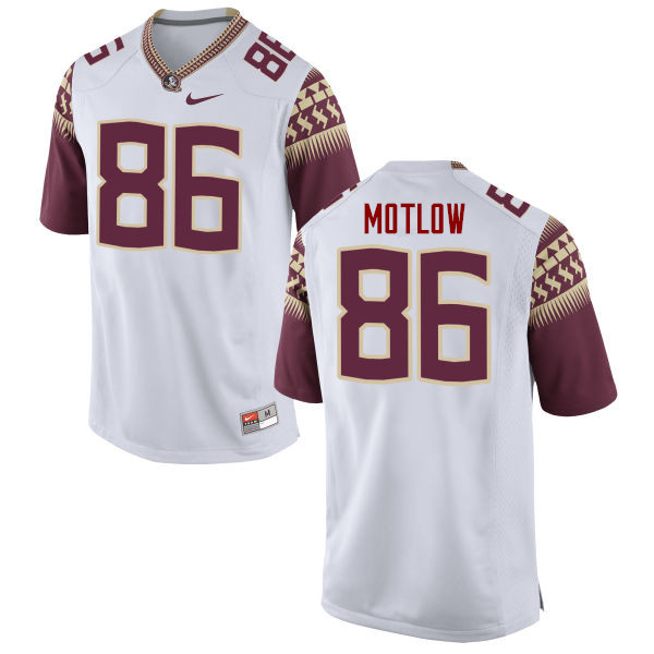 Men #86 Justin Motlow Florida State Seminoles College Football Jerseys-White