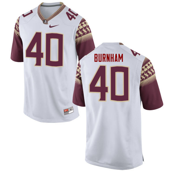 Men #40 Ken Burnham Florida State Seminoles College Football Jerseys-White