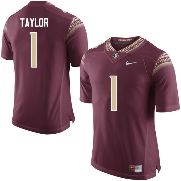 Men #1 Levonta Taylor Florida State Seminoles College Football Jerseys-Garnet