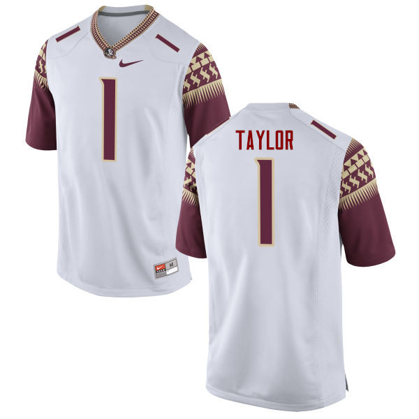 Men #1 Levonta Taylor Florida State Seminoles College Football Jerseys-White