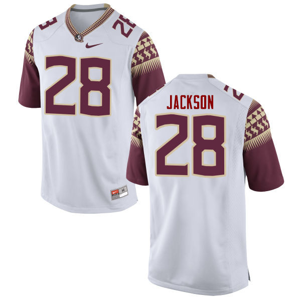 Men #28 Malique Jackson Florida State Seminoles College Football Jerseys-White