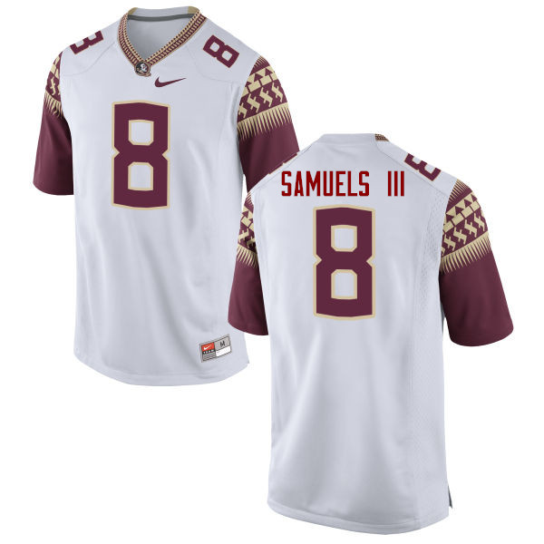Men #8 Stanford Samuels III Florida State Seminoles College Football Jerseys-White