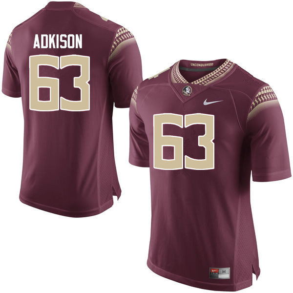 Men #63 Tanner Adkison Florida State Seminoles College Football Jerseys-Garnet