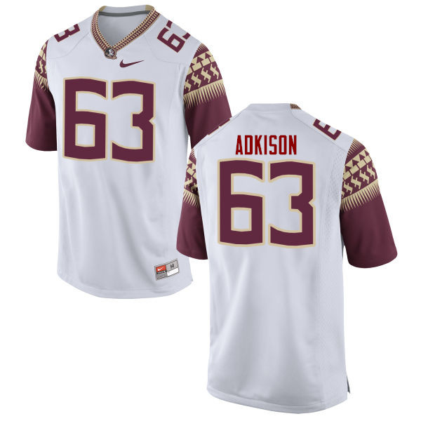 Men #63 Tanner Adkison Florida State Seminoles College Football Jerseys-White