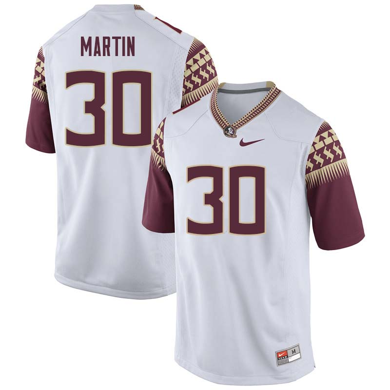 Men #30 Tommy Martin Florida State Seminoles College Football Jerseys Sale-White