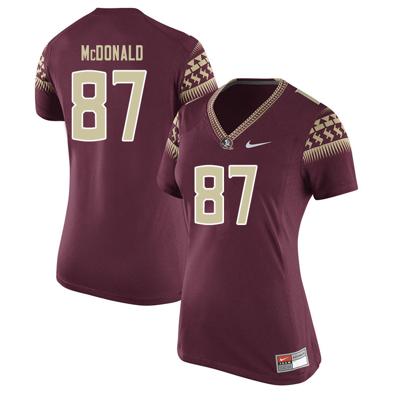 Women #87 Camren Mcdonald Florida State Seminoles College Football Jerseys Sale-Garent
