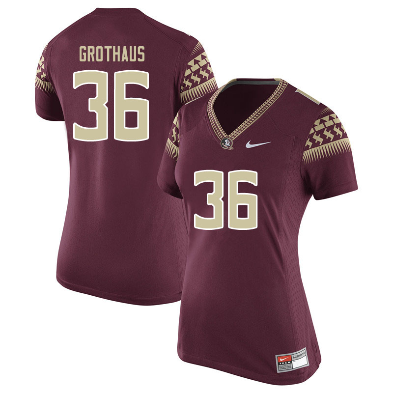 Women #36 Parker Grothaus Florida State Seminoles College Football Jerseys Sale-Garent