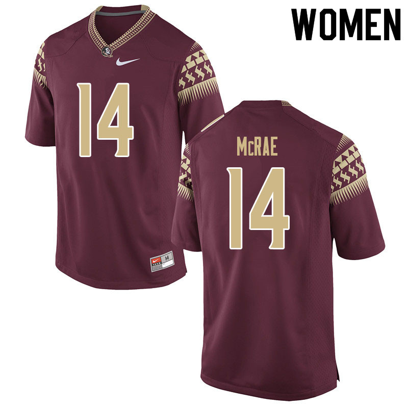 Women #14 Jaleel McRae Florida State Seminoles College Football Jerseys Sale-Garnet
