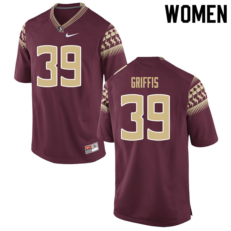 Women #39 Josh Griffis Florida State Seminoles College Football Jerseys Sale-Garnet