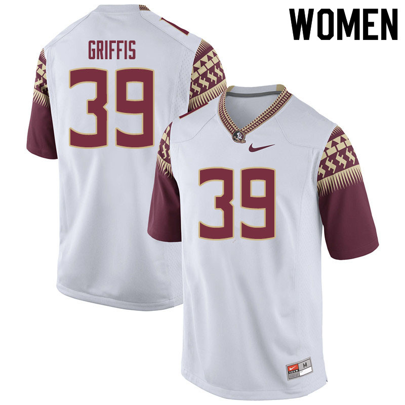 Women #39 Josh Griffis Florida State Seminoles College Football Jerseys Sale-White