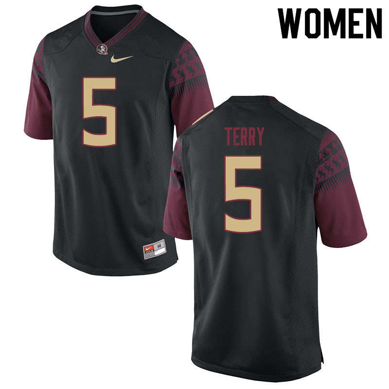 Women #5 Tamorrion Terry Florida State Seminoles College Football Jerseys Sale-Black