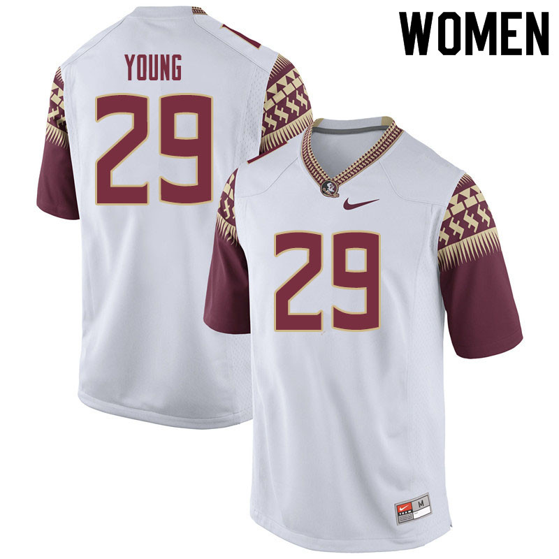 Women #29 Tre Young Florida State Seminoles College Football Jerseys Sale-White