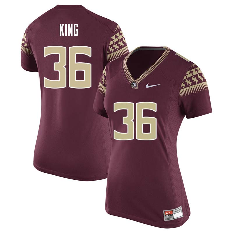 Women #36 Aaron King Florida State Seminoles College Football Jerseys Sale-Garnet