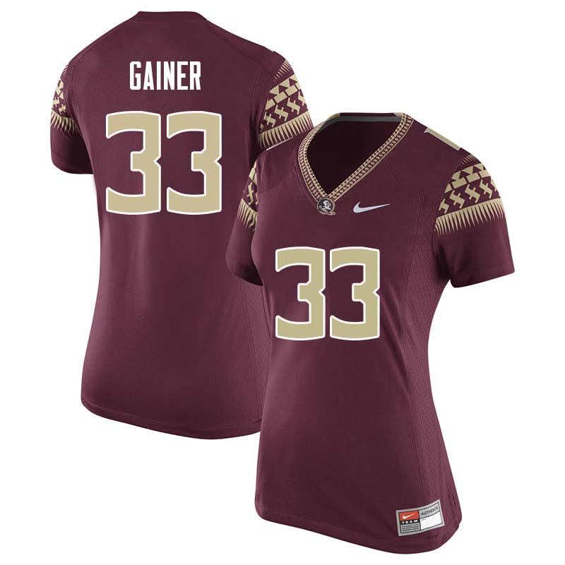Women #33 Amari Gainer Florida State Seminoles College Football Jerseys Sale-Garnet