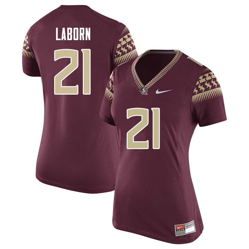 Women #21 Khalan Laborn Florida State Seminoles College Football Jerseys Sale-Garnet