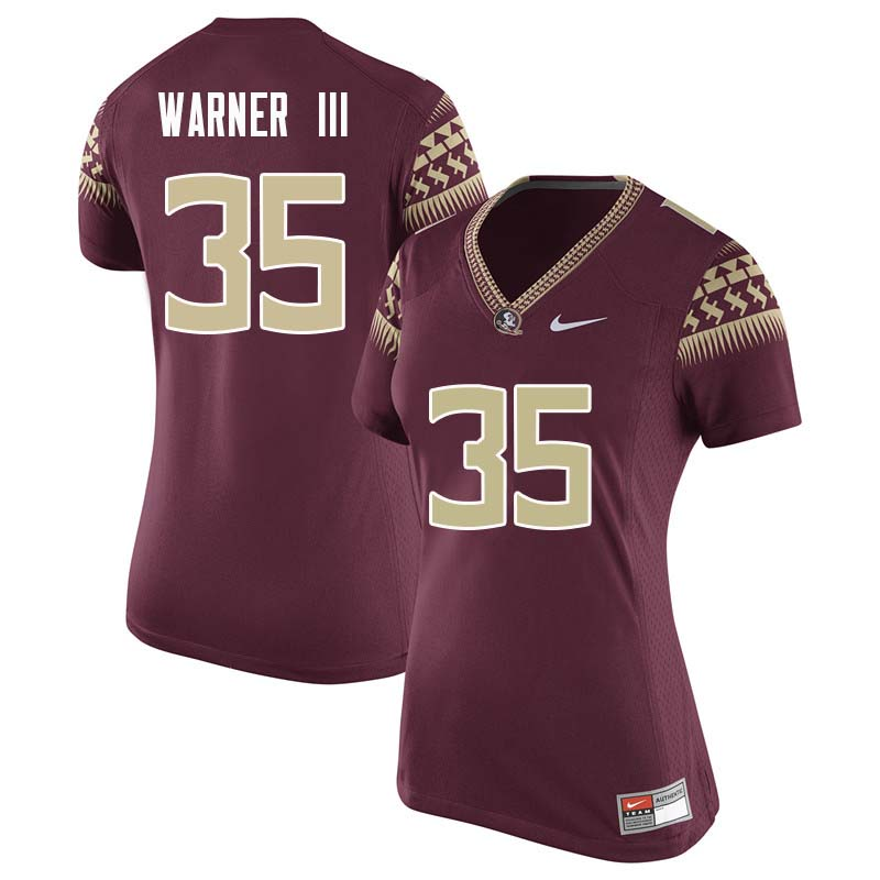 Women #35 Leonard Warner III Florida State Seminoles College Football Jerseys Sale-Garnet