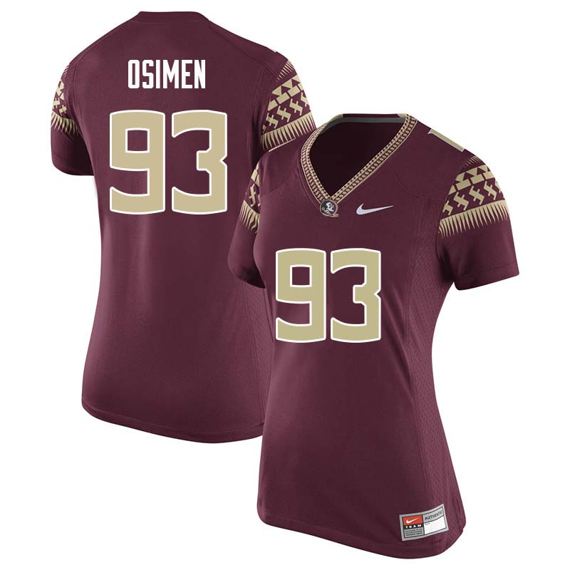 Women #93 Peter Osimen Florida State Seminoles College Football Jerseys Sale-Garnet